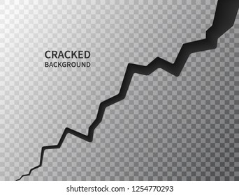 Cracked ground surface. Realistic crack texture on transparent background. Earth crack. Rift on surface. Split terrain after earthquake. Crack on the wall or on the ice. Vector illustration.