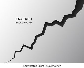 Cracked ground surface. Realistic crack texture. Earth crack. Rift on surface. Split terrain after earthquake. Crack on the wall or on the ice. Vector illustration.