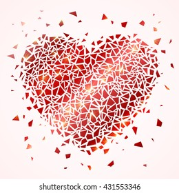 Cracked heart silhouette isolated on white background. Sharp glowing particles. Symbol of love. Vector illustration.