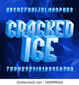 Cracked Ice alphabet font. Distressed letters and numbers on polygonal background. Stock vector typescript for your typography design.