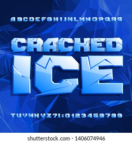 Cracked Ice alphabet font. Frozen letters and numbers on polygonal background. Stock vector typescript for your typography design.