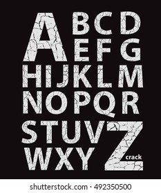 Cracked latin alphabet, vector gray ?raquelure letters on black background