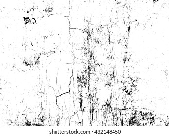 Cracked and peeling paint on the wall vector texture overlay. Abstract black and white grainy grunge background