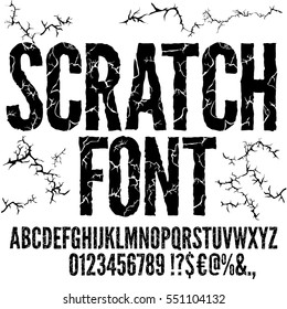 Cracked and Scratched Grunge Style Vector Font Typeface