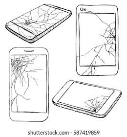 Cracked screen display. Sketch of different broken phones, smartphones. Hand made vector illustration