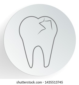 Cracked teeth icon. Dental care concept. vector illustration