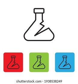Cracked test tube and flask chemical laboratory test icon isolated on white background. Laboratory glassware sign. Vector