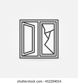 Cracked window linear icon. Vector minimal broken window glass sign in thin line style