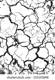 The cracks texture white and black. Vector background. eps 8