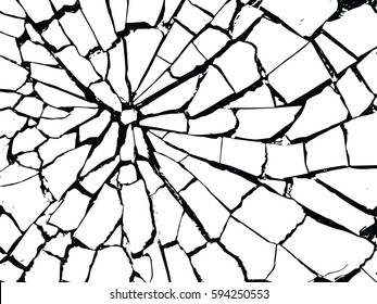 The cracks texture white and black. Vector background