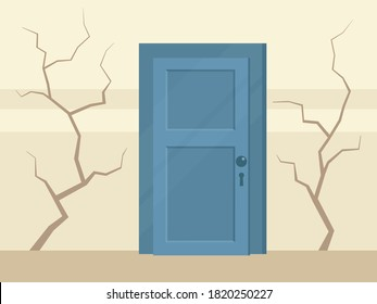 Cracks in the wall of a residential building. Old house in disrepair. Home need repairs. Vector illustration, flat design, cartoon style.