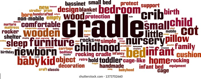 Cradle word cloud concept. Collage made of words about cradle. Vector illustration