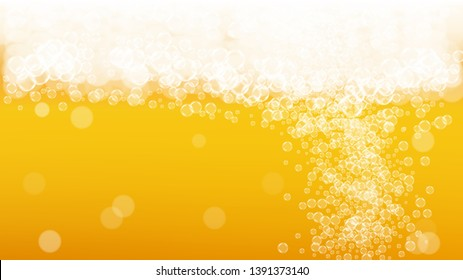 Craft beer background. Lager splash. Oktoberfest foam. Froth pint of ale with realistic white bubbles. Cool liquid drink for restaurant flyer design. Orange glass with craft beer background.
