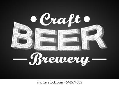 Craft beer banner - chalk concept. Vector illustration.