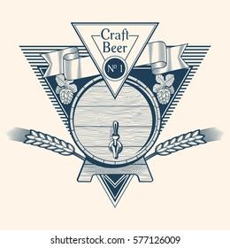 Craft beer barrel emblem