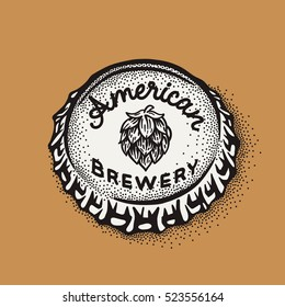 Craft beer bottle cap with brewing inscription in vintage style. Engraving illustration with lettering in hipster style isolated on grunge background. Element for poster in pubs and bars.