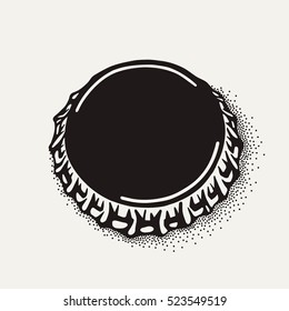 Craft beer bottle cap in vintage style. Engraving illustration in hipster style isolated on grunge background. Element for poster in pubs and bars.