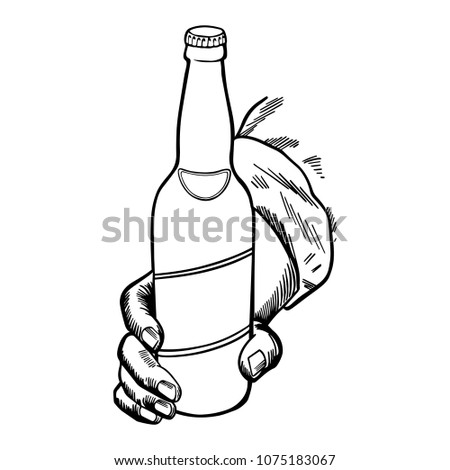 Craft Beer Bottle Held By Hand Stock Vector Royalty Free