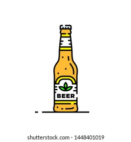 Craft beer bottle line icon. Cold lager drink symbol. Alcoholic beverage graphic. Vector illustration.