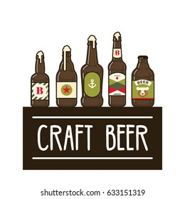 craft beer bottles set vector