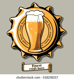 Craft beer brewery emblem on bottle cap