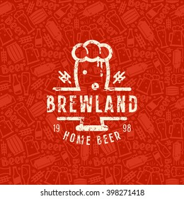 Craft beer brewery seamless pattern and emblem. White print on red background