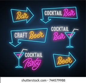 Craft beer, coctail bar, party neon set. Vector illustration.