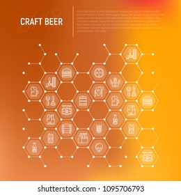 Craft beer concept in honeycombs with thin line icons related to Octoberfest: beer pack, hop, wheat, bottle opener, manufacturing, brewing, tulip glass. Modern vector illustration for print media.