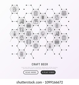 Craft beer concept in honeycombs with thin line icons related to Octoberfest: beer pack, hop, wheat, bottle opener, manufacturing, brewing, tulip glass, mag with foam, can. Modern vector illustration.