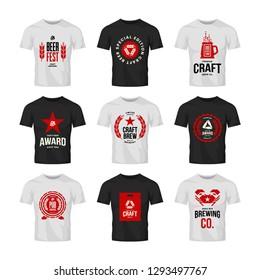 Craft beer drink vector logo sign for bar, pub, store, brewhouse or brewery on t-shirt mock up bundle. Crab, star, wooden barrel and keg logotype illustration set. Brewing fest award badge design.