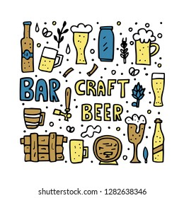 Craft beer elements set in doodle style. Poster template with pub symbols and lettering. Vector illustration.