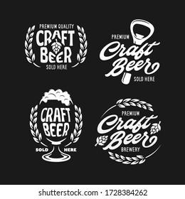 Craft beer emblems set. Beer related design elements for prints, posters, advertising logo templates. Vector vintage illustration.