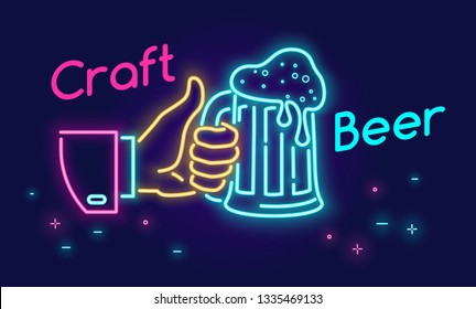 Craft beer glass and thumbs up symbol icon in neon light style on dark background. Bright vector neon illustration of human hand holds beer mug with text for website banner template or landing page