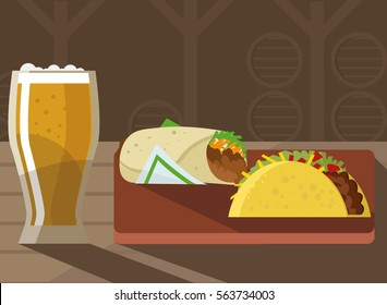 craft beer and gourmet mexican food burrito taco shawarma in restaurant wood table