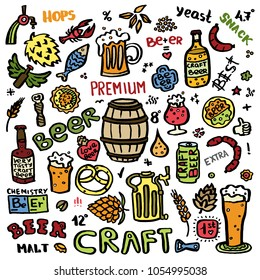 Craft beer hand drawn elements set. Outline colorful icons of craft beer things. Craft beer info graphics for your design. Home brewing, crafted beer. Colorful vector illustration art.