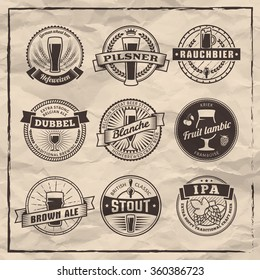 Craft beer labels. Traditional german, belgian and british beer styles. Weissbier, pilsner, rauchbier, dubbel, blanche, fruit lambic, brown ale, stout and IPA. Vintage emblems on a paper background.