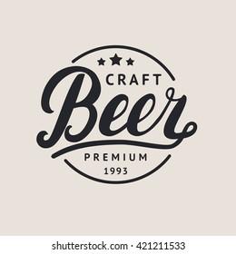 Craft beer logo, label. Beer hand lettering. Vector illustration.