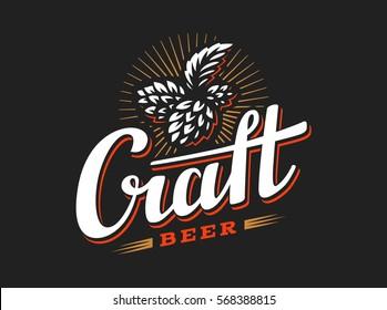 Craft beer logo- vector illustration hop, emblem design on black background.
