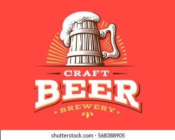 Craft beer logo- vector illustration, emblem brewery design on red background.