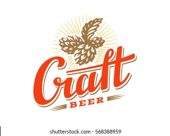 Craft beer logo- vector illustration hop, emblem design on white background.