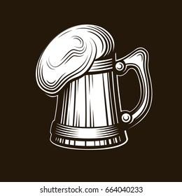 Craft beer logo- vector illustration, emblem brewery design on dark background. EPS 10