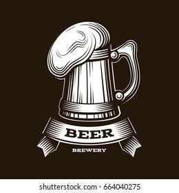 Craft beer logo- vector illustration, emblem brewery design on red background. EPS 10
