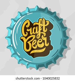 Craft Beer Script Lettering Logo  With Top View Beer Bottle Cap. Vector Graphic.