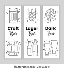 Craft beer, set of banners, vector design