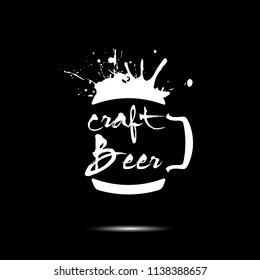 Craft beer typography. Beer logo template design. Grunge Style. Beer advertising. Vector  illustration