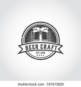 Craft beer vector logo, symbol or label template. Illustrator eps.10