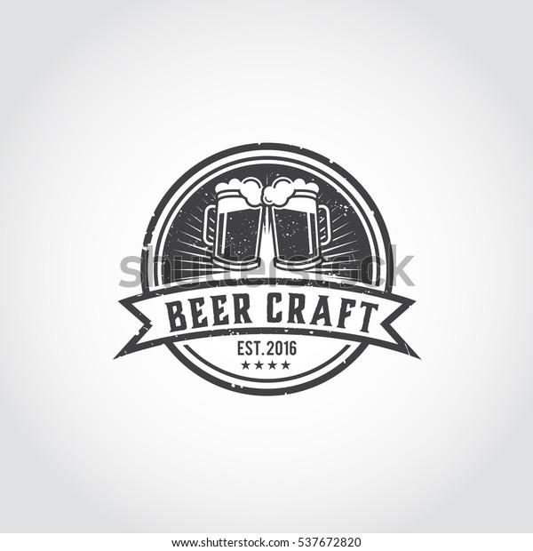 Craft Beer Vector Logo Symbol Label Stock Vector (Royalty Free