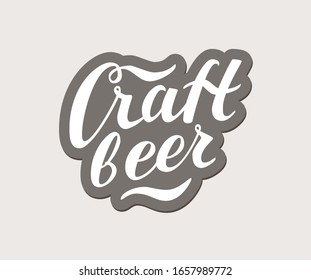 Craft Beer vector text, hand drawn lettering