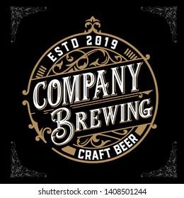 Craft beer vintage label. Vector layered