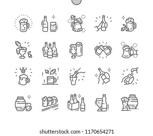 Craft Beer Well-crafted Pixel Perfect Vector Thin Line Icons 30 2x Grid for Web Graphics and Apps. Simple Minimal Pictogram